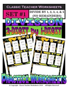 Division 2-Digit by 1-Digit (Set #1) Divide by 1, 2, 3, 4, or 5 - No Remainders