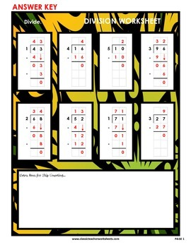 Division 2-Digit by 1-Digit (Set #2) Divide by 1, 2, 3, 4, or 5 - No Remainders