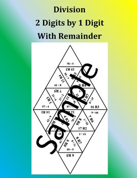 Division 2 Digits by 1 Digit with Remainder - Math Puzzle