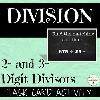 Division with two and three digit divisors task card activity