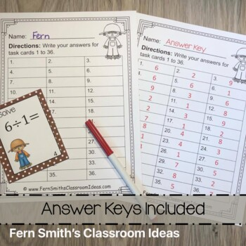 Fall Single Digit Division Task Cards