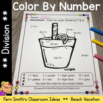 Color By Numbers Vacation Fun Math Division