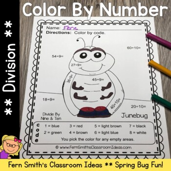 Color By Numbers Spring Bug Fun Division