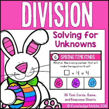 Division Center Game - Solving for Unknowns - 3.OA.4