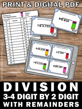 Long Division Task Cards with Remainders, 4th 5th Grade Math Review Games