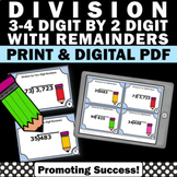 Long Division Task Cards, 5th Grade Math Review with 2 Digit Divisors Remainders