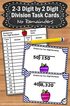 Long Division Task Cards with No Remainders, 4th Grade Math Review Games SCOOT