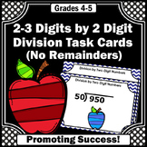 Long Division Task Cards 4th Grade Math Review by 2 Digit Divisors No Remainders