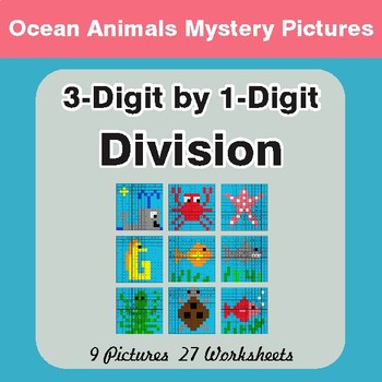 Division: 3-Digit by 1-Digit - Color-By-Number Mystery Pictures