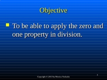 Common Core 3rd - Division 3 - Using the Zero & One Property