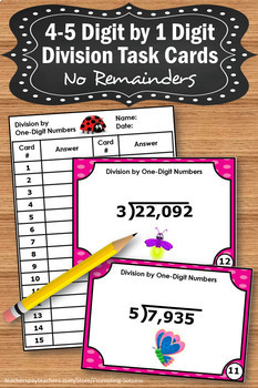 Long Division with No Remainders Task Cards, 5th Grade Math Review Games