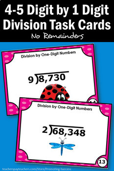 Long Division No Remainders Task Cards, Dividing 4-5 Digits by 1 Digit