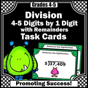 Long Division Practice with Remainders 4th Grade Math Review Division Task Cards