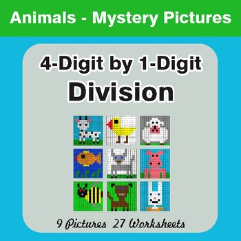 Division: 4-Digit by 1-Digit - Color-By-Number Mystery Pictures