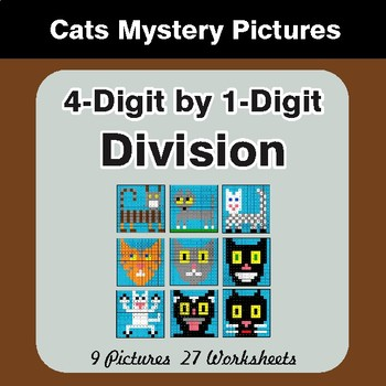 Division: 4-Digit by 1-Digit - Color-By-Number Math Mystery Pictures