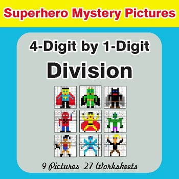 Division: 4-Digit by 1-Digit - Color-By-Number Superhero Mystery Pictures