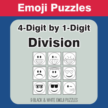 Division: 4-Digit by 1-Digit - Emoji Picture Puzzles