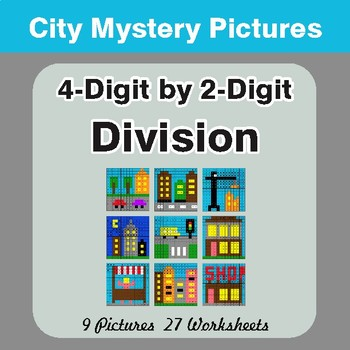 Division: 4-Digit by 2-Digit - Color-By-Number Math Mystery Pictures