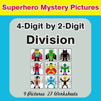 Division: 4-Digit by 2-Digit - Color-By-Number Superhero Mystery Pictures