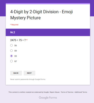 Division: 4-Digit by 2-Digit - EMOJI Mystery Picture - Google Forms