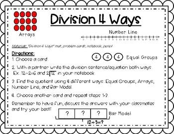 Division 4 Ways-Division Math Center Activity