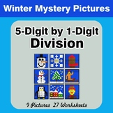 Division: 5-Digit by 1-Digit - Math Mystery Pictures - Winter
