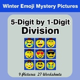 Division: 5-Digit by 1-Digit - Math Mystery Pictures - Winter Emoji
