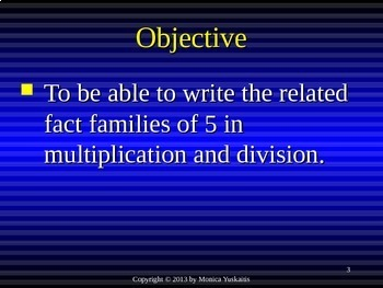 Common Core 3rd - Division 5 - Writing Fact Families of 5 & Review