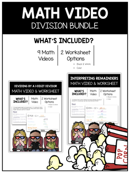 Division (5th) Math Video and Worksheet Bundle / Distance Learning
