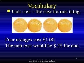 Common Core 3rd - Division 8 - Finding Unit Cost