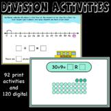 Division Activities, arrays, base 10 blocks, partial quoti