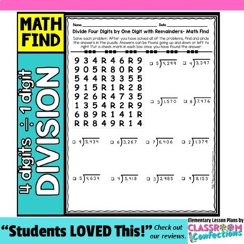 Division Activity: Four Digit Dividend Divided by One Digit: Division Worksheet