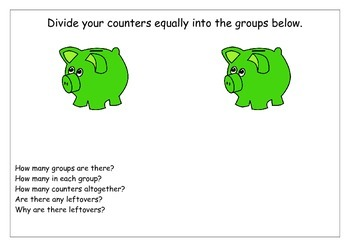 Division Activity Piggy Bank