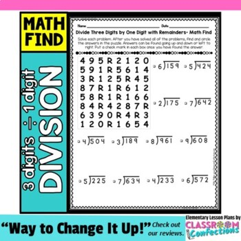 Division Activity: Three Digit Dividend Divided by One Digit: Division Worksheet
