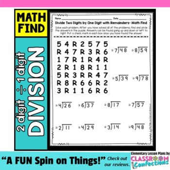 Division Activity Two Digit Dividend Divided By One Digit Division