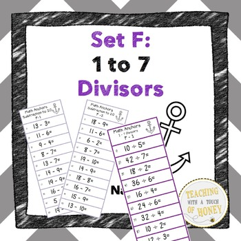 Division Anchors Set F: 1 to 7 Divisors