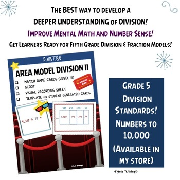 Division Area Model Match Game and Scoot 4.NBT.B6 Partial quotients