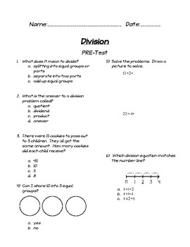 Division Assessment Unit (for use with Magic of Math for 3rd Grade)