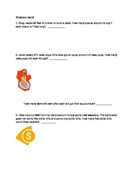 Division Assessment (Word Problems)