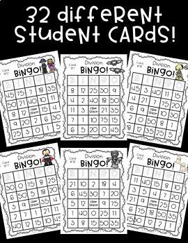 Division BINGO! 32 different cards... Halloween Theme!
