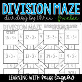 Division Basic Facts Maze for Centers or Stations FREEBIE
