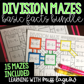 Division Basic Facts Mazes Bundle for Centers or Stations