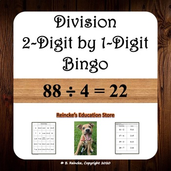 Division Bingo 2-Digit by 1-Digit (30 pre-made cards!!!)