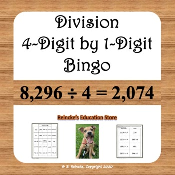 Division Bingo 4-Digit by 1-Digit (30 pre-made cards!!!)
