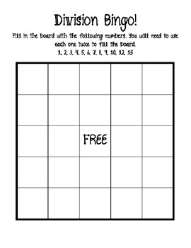 Division Bingo - Math Game