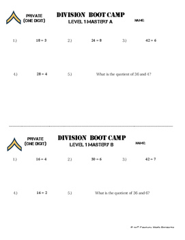 Division Boot Camp -- Differentiated Division Practice Assignments