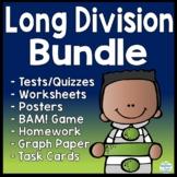 Long Division Bundle: Worksheets, Tests, Posters, Game, Homework, & Graph Paper