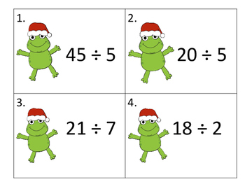 Division Cards with Christmas Frogs