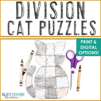 Division Cat Puzzles | Halloween Math Worksheet Alternatives, Games, Activities