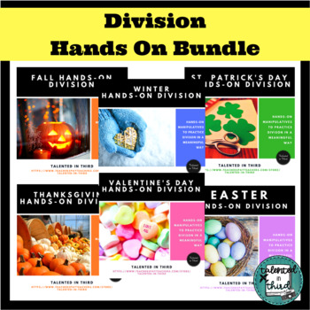 Division Activities Word Problems Centers Year-Long Set Hands On Bundle